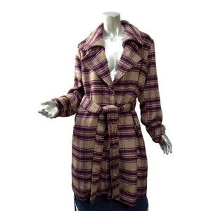 A New Day Sashed Plaid Midi Coat Beige & Purple Big Collar Soft 2XL XXL